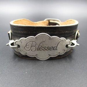 Vintage 8 Inch Stylish Leather Blessed Bracelet